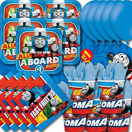 Thomas And Friends Party Pack For 16 - Plates, Cups, Napkins, Balloons and Tablecovers