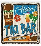 ABAKUHAUS Bar Tiki Cortina de Baño, Cartel Vintage Añejado Aloha Tragos Exóticos y Coco Bebidas Antiguo Nostálgico, Material Resistente al Agua Durable Estampa Digital, 175 x 200 cm