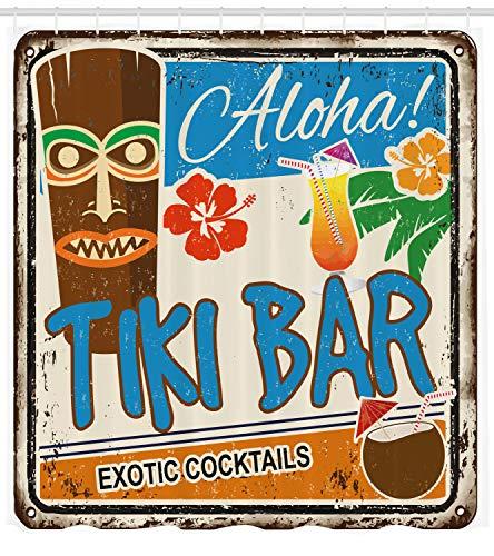 ABAKUHAUS Tiki Bar Duschvorhang, Vintage Zeichen, mit 12 Ringe Set Wasserdicht Stielvoll Modern Farbfest und Schimmel Resistent, 175x200 cm, Mehrfarbig (Tiki Bar Zubehör)