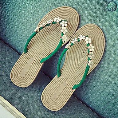LvYuan Sandalen-Kleid Lässig-Stoff-Flacher Absatz-Komfort-Mehrfarbig Green