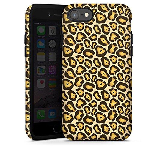 Apple iPhone X Silikon Hülle Case Schutzhülle Dschungel Animal Print Muster Braun Tough Case glänzend