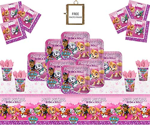 Paw Patrol Pink Party Supplies Kinder Geburtstag Mädchen Komplette Paw Patrol Party Dekorationen für 16 Gäste-Free Photo Frame