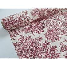 Confección Saymi - Metraje 2,45 mts. tejido loneta estampada Toile de Jouy Ref. Romantica Rojo, con ancho 2,80 mts.