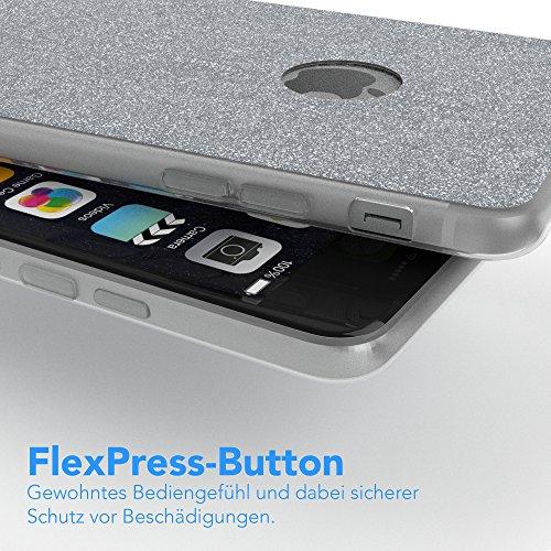 """Apple iPhone 6S Plus / 6 Plus Hülle, EAZY CASE Cover """"Henna"""" - Premium Handyhülle mit Indischer Sonne - Transparente Schutzhülle in Weiß Transparent Silber"""
