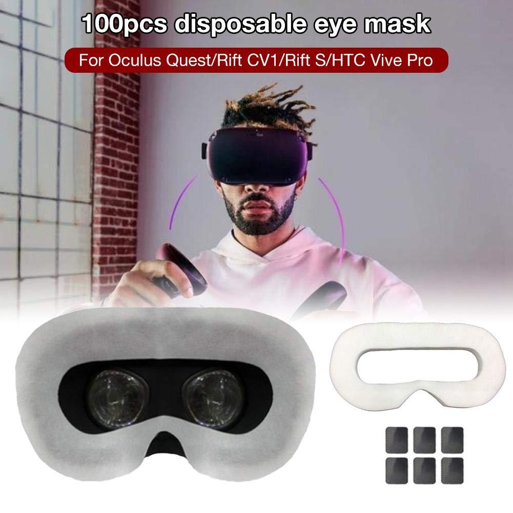 Cokeymove Masque de Couverture faciale jetable 100pcs, Masque respiratoire Absorbant en Sueur Pur de Sueur de Coton Pur Masque sanitaire pour Oculus Quest/Rift CV1 / Rift S/HTC Vive