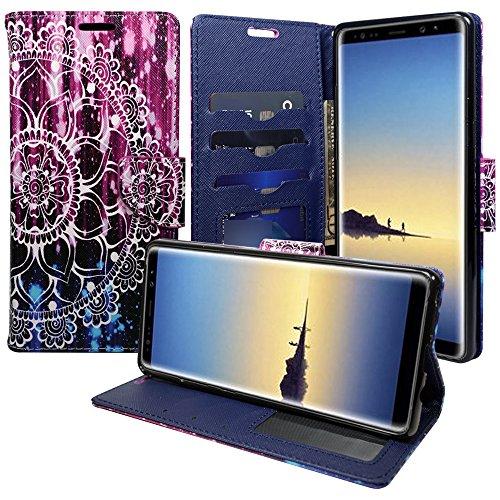 Samsung Galaxy S8Active Schutzhülle, Galaxy S8Active AT & T Wallet Fall Pouch Premium PU Leder Flip Cover w/[Standfuß] Card Slot Handschlaufe für S8Active von Zase, Purple Mandala Flower (Wireless Phone Cricket Card)