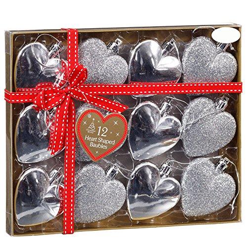 Christmas presents 12palline di natale albero nuovo decorazione a forma di cuore, colore: argento