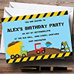 Jcb Digger Construction Building Theme Personalised Birthday Party Invitations / Invites & Envelopes