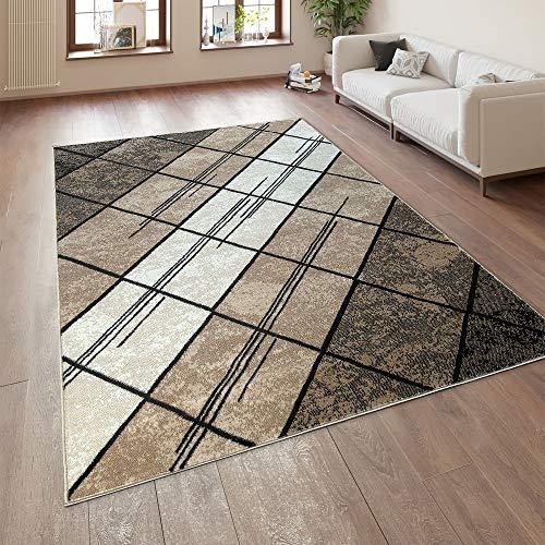 Paco Home Designer Wohnzimmer Teppich Modern Kurzflor Geometrische Muster Braun Beige Creme, Grösse:120x170 cm - Braun Creme