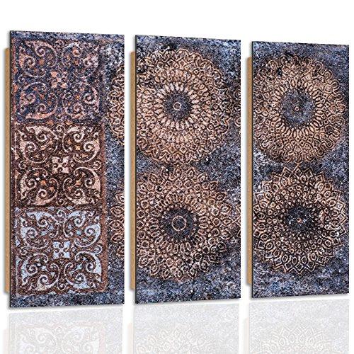 Feeby Frames, Cuadro de pared - 3 partes - Cuadro decorativo, Cuadro impreso, Cuadro Deco Panel, Tipo C, 60x80 cm, MOSAICO, DISEÑO, ARTE, CULTURA