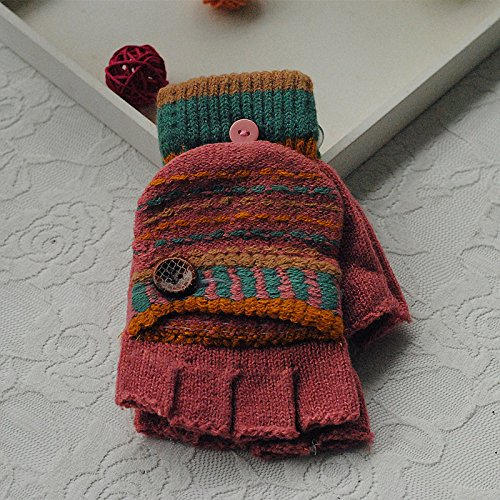 Winter Kleine Tasten Ohne Flip Student Handschuhe Halbfinger Flip Handschuhe Warme Linie Gestrickte Handschuhe,E-