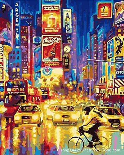 Diy digital painting living room bedroom study decorative painting painted city night AI0388 - Pre-painted Kit