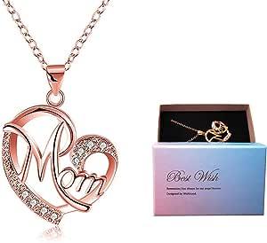 Regali Festa della Mamma, Deesos Collana miglior regalo per il compleanno della mamma cuore diamante collana pendente per la mamma compleanno oro rosa