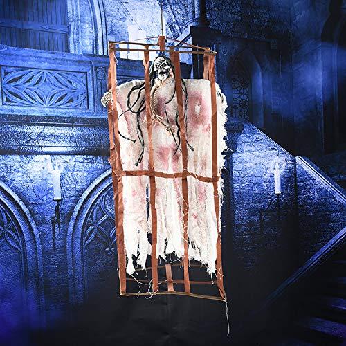 YC DOLL Animiertes Elektrisches Skelett Ghost Halloween Dekoration Mit Leuchtend Roten Augen Und Großem Sound Effekt, Terroristisches Spielzeug, Schwarz, Weiß 85 * 39 * 25Cm,White
