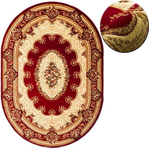 Traditionelle Ovale Teppich (Carpeto Teppich OVAL Klassisch Orientalisch Ornamente Muster 3D-Effekt Konturenschnitt (200 x 300 cm, Rot))
