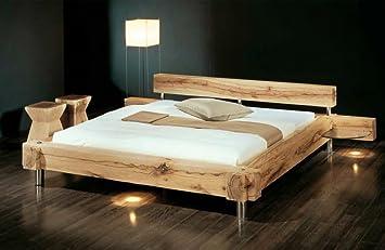 Holzbett rustikal hoch  Massivholzbett Balken-Bett - rustikales Designerbett, Größe ...