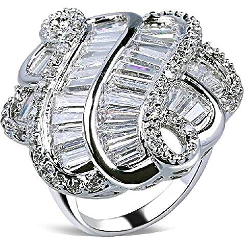 Anelli Di Fidanzamento Donna Placcato Oro Fiore Bianco Taglio Strass Formato Dell'Intarsio 19.5 Da (14k Diamante Tiffany Anello Setting)
