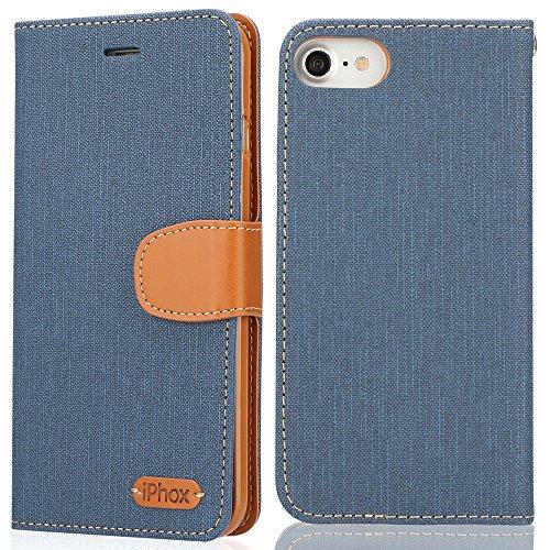 iPhone 7 Hülle, IPHOX PU Leder Tasche für iPhone 7 Handyhülle im Bookstyle mit Magnet Kartenfächer Handschlaufe Standfunktion, Grün/ Blau Blue/J