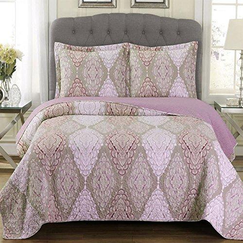 Jewel Übergroß Decke 3-teiliges Set, Luxus Mikrofaser bedruckt Quilt von Royal Hotel, Polyester, multi, Twin/Twin-XL (Xl Twin-decke)
