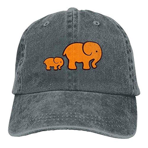 Yutirewer Baseball Jeans Cap Elephant Clipart Orange Men Baseball Cap Polo Style Low Profile -