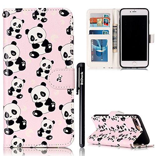 iPhone 7 Plus/iPhone 8 Plus 5.5 Cover a Libro,BtDuck Morbido Slim Custodia Pelle Borsa e Portafoglio Tasca Progettato Creativo Divertente Funny Animale Modello Flip Cover Case Morbido Silicone Back Ca Modello# Cute Panda