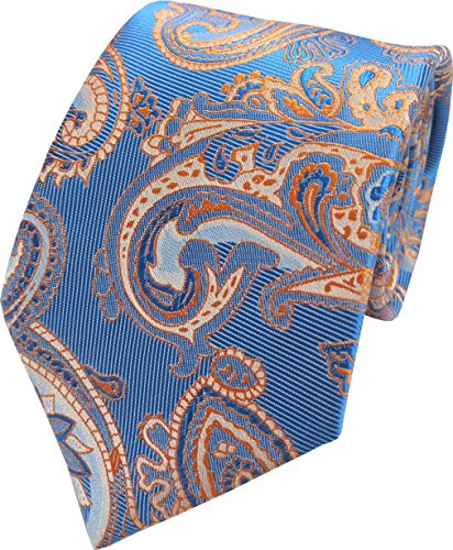 Great British Tie Club Hommes Paisley Motif Cachemire Cravates - Diverses couleurs (Bleu & Orange)