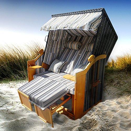 Strandkorb Premium Volllieger Ostsee Gartenliege Sonneninsel Poly-Rattan XXL (Runde 47 Sitzfläche)