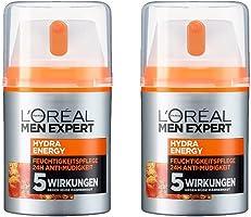 L'Oréal Men Expert Hydra Energy Feuchtigkeitspflege, müde/normale Männerhaut, Anti-Müdigkeit, Vitamin C und Guarana (2 x...