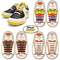 Cordones planos de Coolnice infantiles y para adultos, impermeables y de silicona elástica. Para zapatillas de deporte o vestir, botas de senderismo y más. Evita accidentes por llevar los cordones sueltos, 3-Rainbow+White+Black, Kids