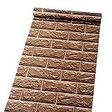 Autoadhesivo extraíble vinilo marrón ladrillo papel de contacto decorativo Peel y Stick - Papel pintado para pared artes manualidades proyectos decoración 45 x 500 cm
