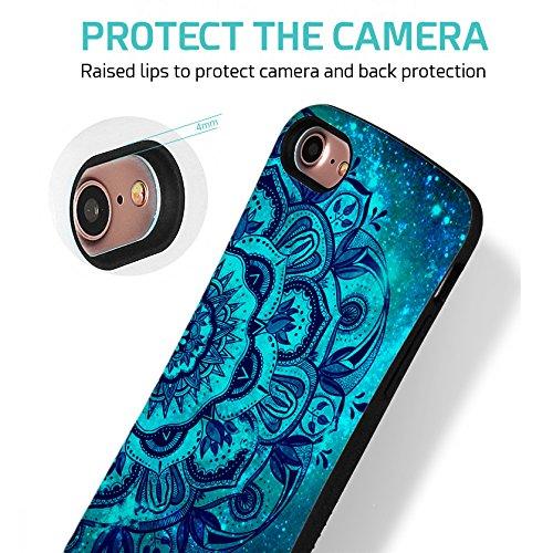 ZUSLAB iPhone 8 / iPhone 7 Hülle, Punkt Mädchen Muster Schwerschutz Fallschutz Extrem Hoher Schutzhülle Weich Rand Robust Stoßfest handyhülle für Apple iPhone 8 / iPhone 7 [Face][Pinkdot] Blue Madanla