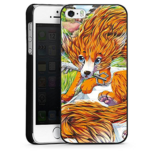 Apple iPhone 4 Housse Étui Silicone Coque Protection Renard Dessin Orange CasDur noir