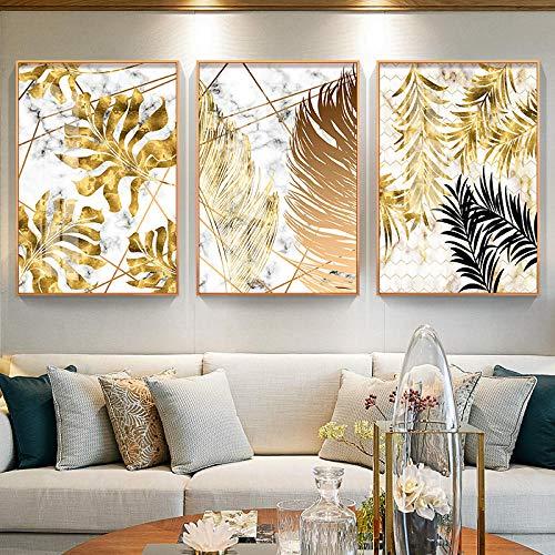 Estilo nórdico Golden Leaf Canvas Canvas Posters And Print Decoración moderna Arte de la pared Cuadros para la sala de estar Dormitorio Comedor Sin marco
