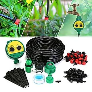 KING DO WAY Auto Bewässerungssystem Garten Bewässerung verstellbar Zerstäuberfunktion Kits System DIY pflanzen Wasser Gartenschlauch Automatische Kits (25m mit 30 Stueck Tropfen)