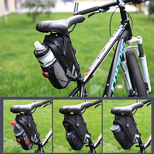 Aosbos Satteltasche mit Flaschenhalter, Reflexstreifen, LED-Halterung, Klettbefestigung Fahrradtasche oder Rahmentasche Blau