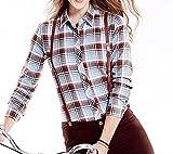 Tribear Damen Checked Flanell Shirt Hemd Slim Fit Langarm Bluse Beiläufige Oberseite (3XL EU40, 10013G)