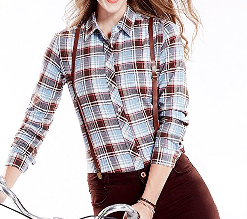 Tribear Damen Checked Flanell Shirt Hemd Slim Fit Langarm Bluse Beiläufige Oberseite (L EU34, 10013G) (Shirt-kleid Checked)