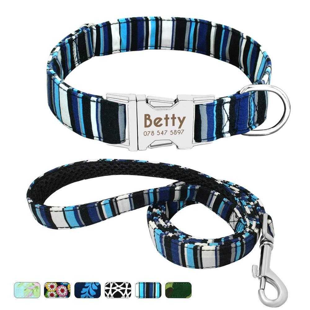 Beirui Collar Perro Personalizado con Hebilla de liberación rápida – Collares para Perros Personalizados con Patrones Florales – Navy Blue Collar y Correa Perro – S(10-15.5″Cuello)