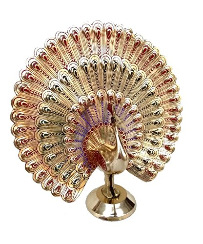 Rastogi Handicrafts Showpiece Dancing Peacock - 18 cm (Brass, Multicolor)