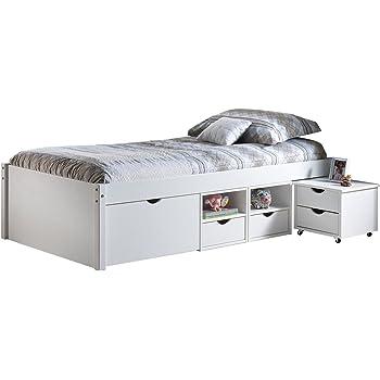 Esidra barre letto con vani contenitore e comodino con ruote legno bianco singolo a una - Barre per letto ...