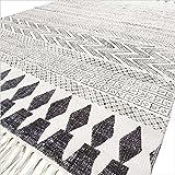 Eyes of India - Blanc Noir Coton Bloc Zone d'impression Accent Dhurrie Tapis Plat Tissé Tissé Boho Chic Bohème Indienne - Blanc, 4 X 6 ft. (120 X 180 cm)