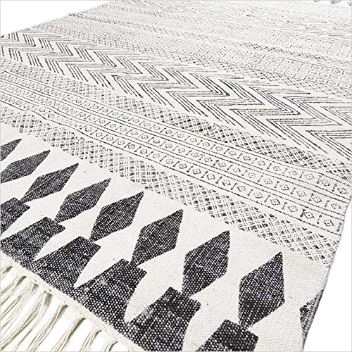 Eyes of India - Weiß Schwarz Baumwolle Block Druckfläche Akzent Dhurrie Teppich Flach zu Weben Gewebt Boho Chic Indische Böhmisch - G-White Schwarz, 6 X 9 ft. (183 X 274 cm) - Schwarz Akzent Teppich