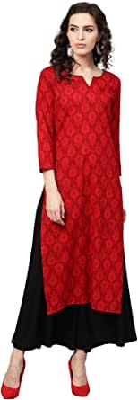 Vaamsi Cotton Printed Kurti(VCK1136_Red_Free Size)