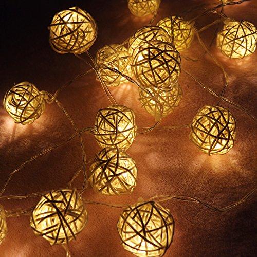 Rattan Lichterkette, 3,5M 20 LEDs Rattan Ball Lichterkette Rattan-Kugel Licht für Weihnachtsdeko Hochzeit Geburtstag Party, 2* AA Batteriebetriebene Warmweiß