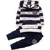 Shiningup Chándal de bebé para niños, conjunto de ropa de manga larga con capucha y rayas camiseta y pantalones para niños pe