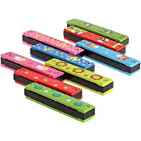Andoer 16 Holes Tremolo Harmonica Kids Musical Wind Instrument Educational Toy with Wooden Cover