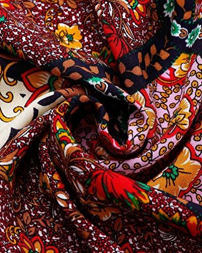 BIUBIU Damen Schulterfrei Strand Spielanzug Boho Blumendruck party Kleid Große Größen Rot