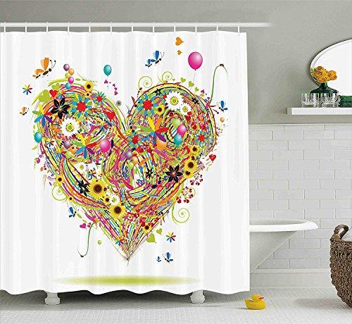 Herzen Blumen & Luftballons Herz Gänseblümchen Schmetterlinge Sonnenblumen Marienkäfer Bunt Gras Blumen Badezimmer MehrfarbendruckDuschvorhang Hellrosa ()