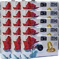 "15 x Photo PORST boda Cámara/cámara desechable ""Rosa Roja + anillos"" (con flash luz y pilas, por 27 fotos, ISO 400 Fuji)"