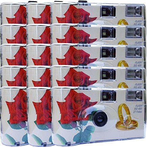 """15x PHOTO PORST Hochzeitskamera / Einwegkamera \""""rote Rose + Ringe\"""" (deutsche Bedienungsanleitung, mit Blitzlicht und Batterien, je 27 Fotos, ISO 400 Fuji)"""